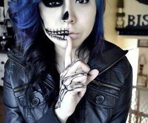 girl, skull, and blue image
