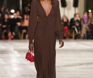 brown dress, model, and jacquemus image