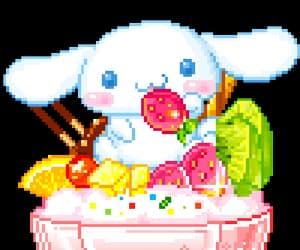 cinnamoroll, kawaii, and pixel food image