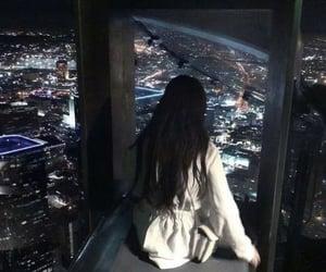 night, city, and girl image