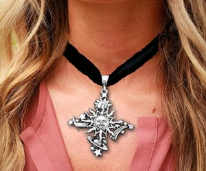 choker, cross, and tan image