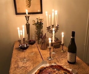 food, candle, and drink image