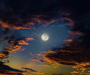 clouds, moon, and sky image