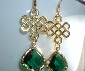 dangle earrings, green stone earrings, and irish earrings image