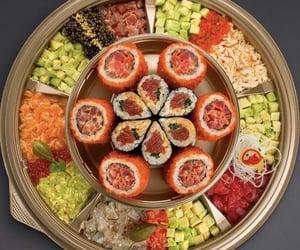 avocado, maki, and salmon image