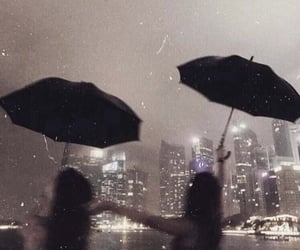 rain, city, and friends image