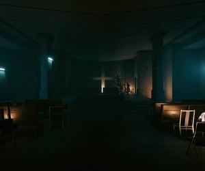bench, church, and shadows image