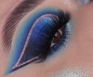 blue eyeshadow, eyebrows, and blue makeup image