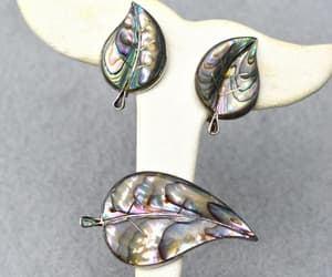sterling silver, leaf pin, and abalone shell image