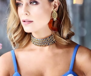 blue eyes, chest, and choker image