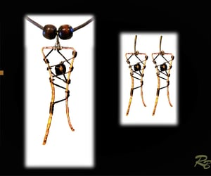 art, copper, and earrings image