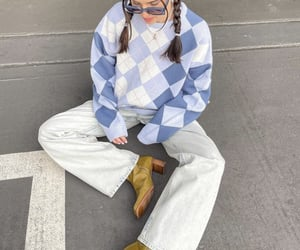 everyday look, argyle sweater, and wide leg jeans image