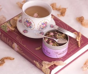 book and cup of tea image