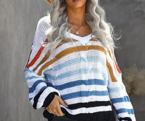 apparel, multicolor, and vneck image