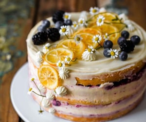 cake, sweet, and blueberry image