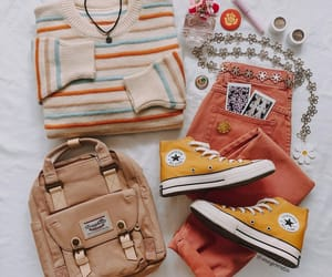 backpack, yellow, and beige image