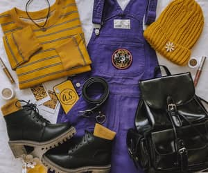 beanie, overalls, and striped sweater image