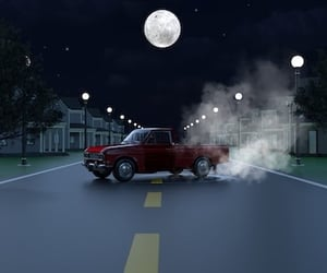 3d, car, and lamppost image