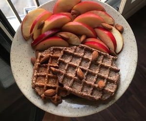 food, waffles, and apple image