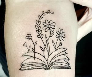 book, flower tattoo, and tattoo image