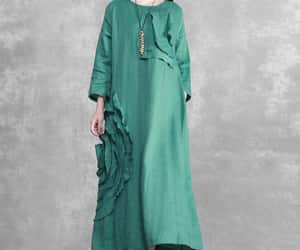 etsy, green dress, and linen dress image