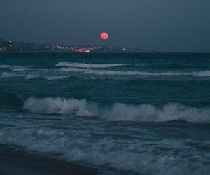 moon, sea, and waves image