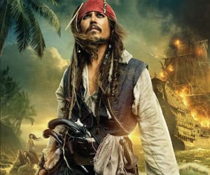 jack sparrow, poster, and johnny depp image