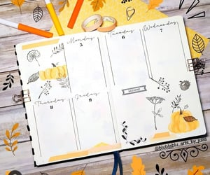 stationery, pumpkin doodles, and bullet journal image