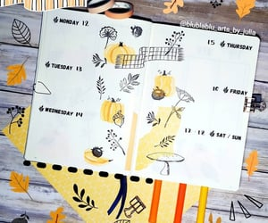stationery, pumpkin doodles, and bullet journal image