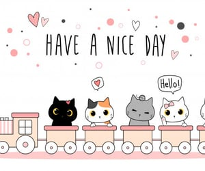 cute cat, silly, and train image