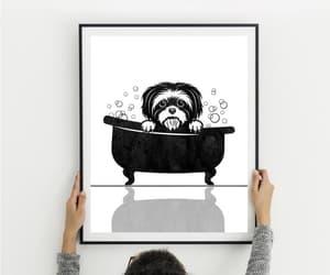 etsy, bathroom decor, and peekaboo dog image