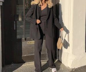 street style, black blazer, and wide leg pants image