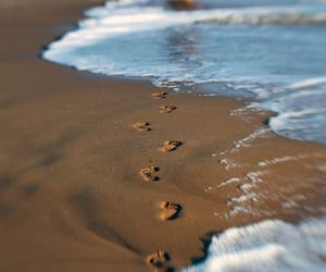 beach, footprints, and photography image