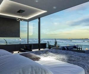 bedroom, view, and ocean image