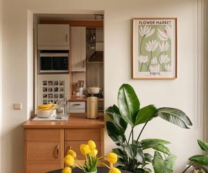 apartment, dining room, and flowers image