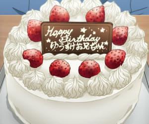 anime, birthday cake, and food image