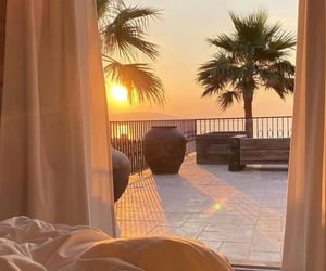 sunset, bedroom, and golden hour image