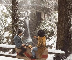bridge, snowy, and weather image
