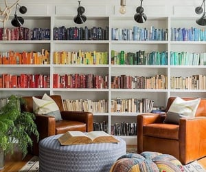 bookshelves, deco, and colorful image