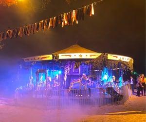 amusement park, Halloween, and carousel image