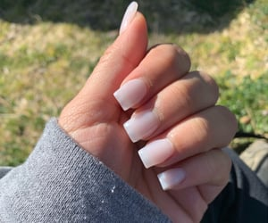 acrylic, nails, and milky white image