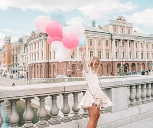 balloons, blonde, and girl image