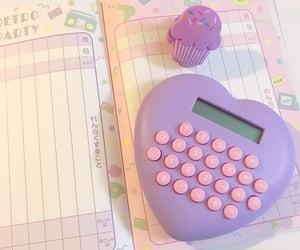 calculator, kawaii, and purple image
