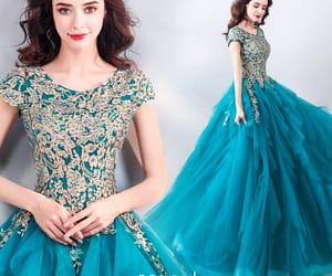 girl, green dress, and long dress image