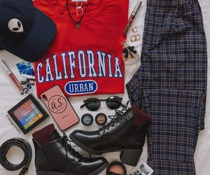 boots, california, and plaid pants image