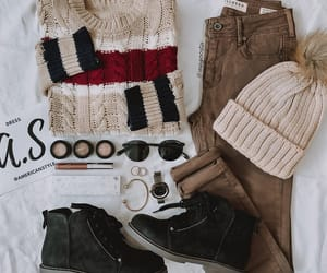 beanie, brown, and colored jeans image