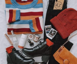 beanie, striped sweater, and black image