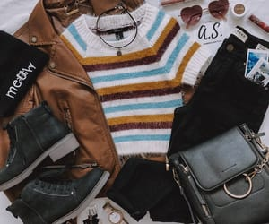 beanie, brown, and striped sweater image