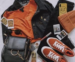 beanie, orange and black, and black image