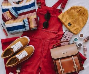 beanie, overalls, and yellow beanie image